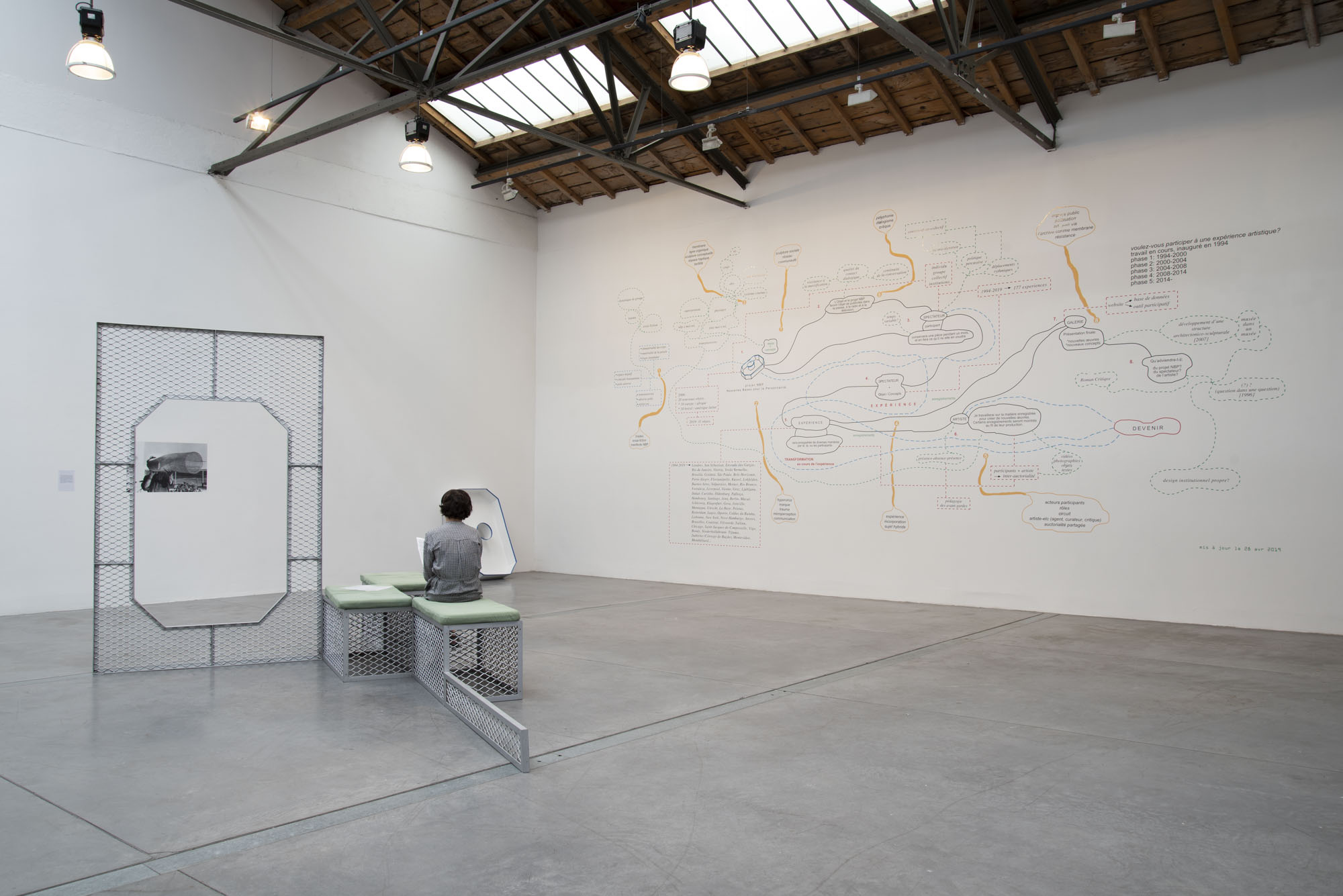 Ricardo Basbaum, Would you like to participate in an artistic experience ? 1994-2019. Adhésif sur mur, Dimensions variable (ici 400 x 700 cm). Photo Angélique Pichon et le 19, Crac.